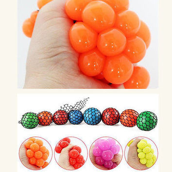 2pcs Funny Anti Stress Face Reliever Grape Ball Autism Mood Squeeze Relief Gift