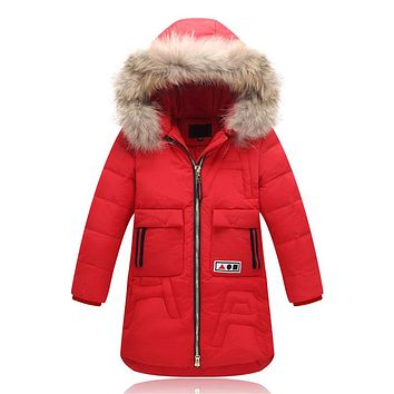 Baby girl Down Jackets Girl Long Model duck down Coats Zipper Hooded Fur coats Collar girl Warm Jacket