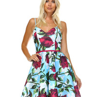Rose Floral Print, Spaghetti Strap, Fit and Flare Dress D1692