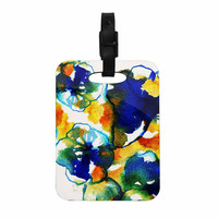 "Sonal Nathwani ""Blue Orange Floral"" Abstract Watercolor Decorative Luggage Tag"
