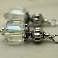 Clear AB Square Cube Cut Crystal with Silver Ribbed Bead Pendant Charm Earring Dangle Drop Beaded Set