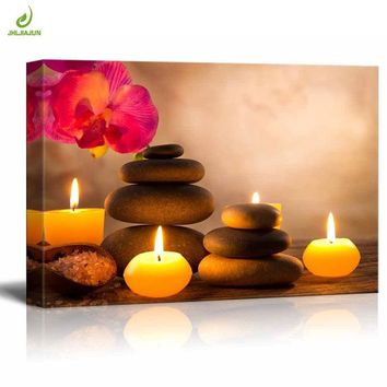 JHLJIAJUN Canvas Painting Flower Candle Stone Landscape Bright HD Posters 3D Wall Art Picture Home Decor Wall Art For Yoga Room