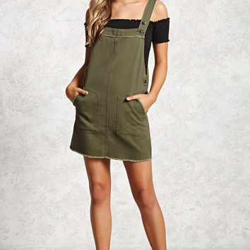 Frayed Overall Dress
