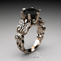 Nature Inspired 14K Rose Gold 3.0 Ct Black and White Diamond Leaf and Vine Crown Solitaire Ring RD101-14KRGDBD