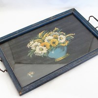 Picture Frame Vanity Tray Blue Flowers