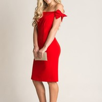 Courtney Red Bow Sleeve Dress