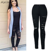 Jeans Woman Denim Skinny Ripped Pants High Waist Stretch Jeans Slim Pencil Trousers Black Jeans Free Shipping,Feb 24