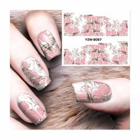 LCJ Flower Series Nail Sticker Water Decals Nail Art Water Transfer Stickers For Nails 8087