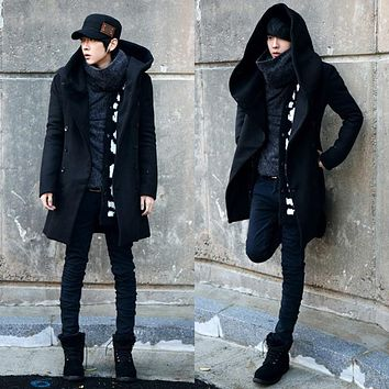 2016 Winter Men's Wool/blend Coat Double Breasted Medium-long Windbreaker Male Thickening Outwear Black/navy Casual Trench M-2XL