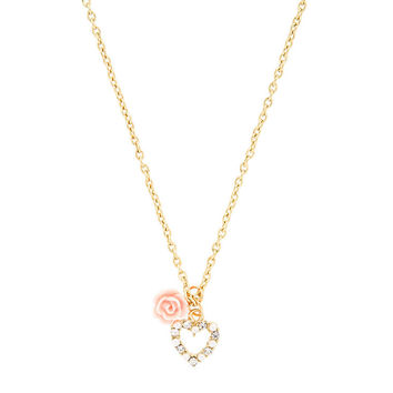 Heart and Pink Carved Rose Necklace