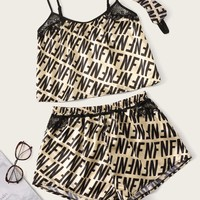 Letter Print Satin Cami PJ Set With Eye Mask