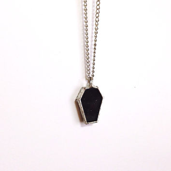 Black Glitter Coffin Necklace