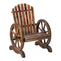 Old Country Wood Wagon Wheel Chair