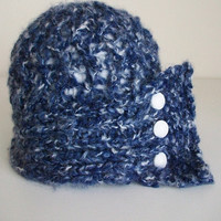 Vintage Style Blue White Cloche Chambray Knit Lace Hat Romantic 1920's Art Deco Style