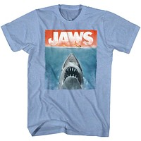 Jaws T-Shirt Line Distressed Colored Movie Poster Light Blue Heather Tee