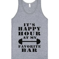 it's happy hour tank top-jh-Unisex Athletic Grey Tank