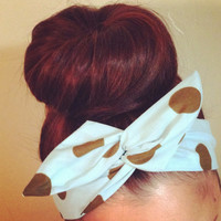 Brown on Baby Blue Polka Dot Dolly Bow Headband