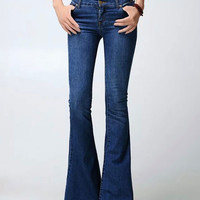 Dark Blue Denim Flared Pants with Pocket