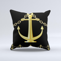 Gold Linking Chain Anchor ink-Fuzed Decorative Throw Pillow