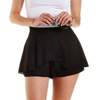 Black Tulip Peplum High-Waisted Shorts by Charlotte Russe