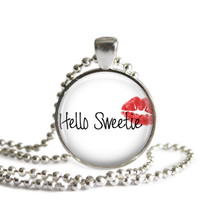Hello Sweetie River Song Doctor Who Quote Necklace