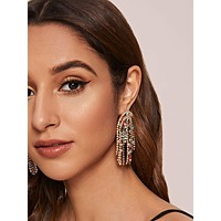 1pair Rhinestone Engraved U Shaped Tassel Drop Earrings