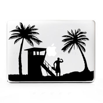 Lifeguard Beach Lady Sticker Decal for Mac Laptops - PC, iPad & iPhone Versions Available too.
