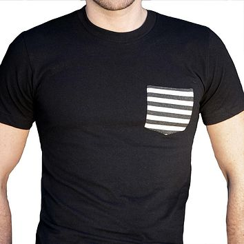 Black with Black & White Stripe Pocket Tee - Size XL Available