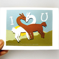 Cute Llama Card, I Love You, Valentine Card, Anniversary Card, Blank Greeting Card, Personalized Card, Papercraft Card, Paper Cut Card