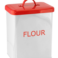 WHITE/RED KITCHEN CANISTER - FLOUR