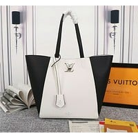 LV Louis Vuitton WOMEN'S Taurillon LEATHER LOCKME HOBO HANDBAG TOTE BAG