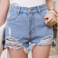 Hole irregular high waisted shorts denim jeans 6 Size (S-3XL) 3 color Plus Size = 1929604420