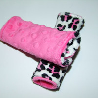 Leopard and Hot Pink MINKY Carseat Strap Covers reversible- Ships in 1-3 Days