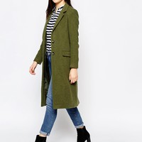 Helene Berman Two Button Longline Coat in Green