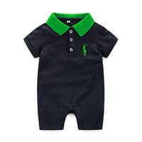 Fashion 2016 summer baby rompers cotton unisex polo baby boys girls baby jumpsuits new baby clothing 3M- 24M