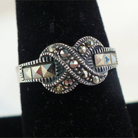 Vintage STERLING Silver, MARCASITE Eternity Ring, Size 8, Wedding