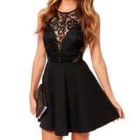 Women Black Short Sleeveless Lace Dress Short Evening Party Dresses Hollow Out