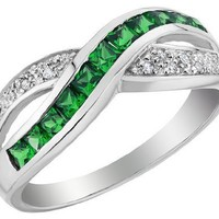 Created Emerald Ring with Diamonds 2/3 Carat (ctw) in 10K White Gold, Size 6.5