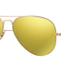 New Ray Ban Aviator RB 3025 112/93 Gold w/Yellow Flash lenses size 55mm