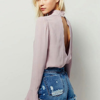 Backless Leaf Chiffon Tops Long Sleeve Shirt [6158982340]