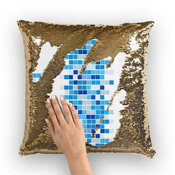 Mosaic Squares Graphic Style Sequin Cushion Cover