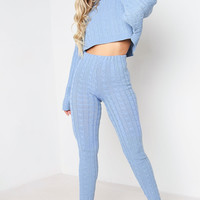 BLUE BATWING CABLE KNITTED CO-ORD SET