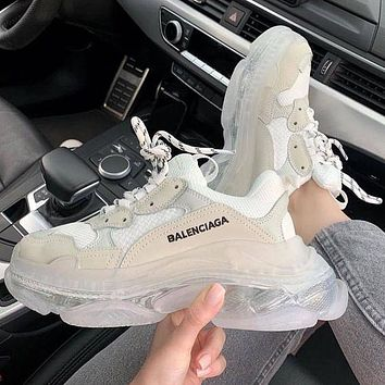 Vsgirlss Balenciaga Shoes High Quality Contrast Crystal clear shoes Triple sole Shoes White
