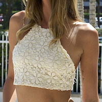White Halter Backless Cut Away Crochet Lace Crop Top