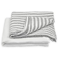 green sprouts® by i play.® 2-Pack Cotton Stripe/Solid Muslin Swaddle Blankets in Grey