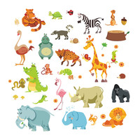 Jungle wild Animals Wall Stickers for Kids Rooms Nursery Rooms Home Decor Poster Monkey Elephant horse Wall Decals Wallpaper