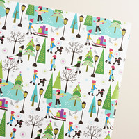 Jumbo Mistletoe Wishes Skaters Wrapping Paper Roll - World Market