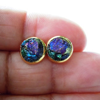 Peacock Ore Stud Earrings- Raw Stone Jewelry - Natural Raw Gemstone Cluster