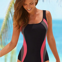Color Block One Piece Swimsuit Bikini Bathing Suit 11993