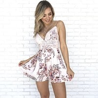 Burst Of Joy Crochet Floral Romper In Blush Pink
